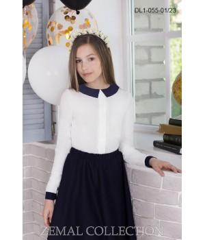 Блуза школьная Zemal DL1-055-01-23 белая с темно синим р36