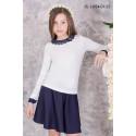 Блуза школьная Zemal DL1-054-01-23 белая с темно синим р32