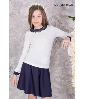 Блуза школьная Zemal DL1-054-01-23 белая с темно синим р34
