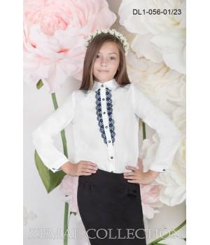 Блуза школьная Zemal DL1-056-01-23 белая с темно синим р32