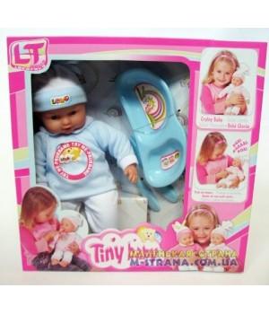 Пупс с мягким телом Tiny Baby в голубой одежде с аксессуарами для кормления