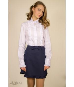 Блуза с брошью Лилия-пайетки р122 белая