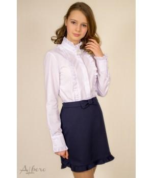 Блуза с брошью Лилия-пайетки р158 белая