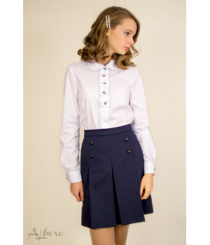 Блуза с декором на планке р122 белая