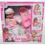 Пупс с мягким телом Tiny Baby в розовой одежде с аксессуарами для кормления