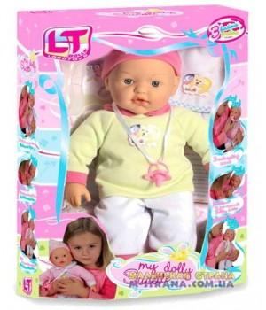 Пупс большой с мягким телом My Dolly sucette с тремя функциями в зеленой одежде
