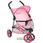 Коляска для кукол трехколесная Byboo Pink розовая с передним поворотным колесом