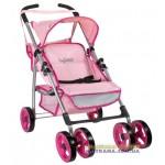 Коляска для кукол четырехколесная летняя Byboo Pink 97040 розовая с поворотными передними колесами