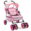 Коляска для кукол четырехколесная летняя Byboo Pink 97040 розовая с поворотными передними колесами Loko Toys - 1