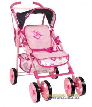 Коляска для кукол четырехколесная летняя Fashion Doll 97042 с поворотными передними колесами