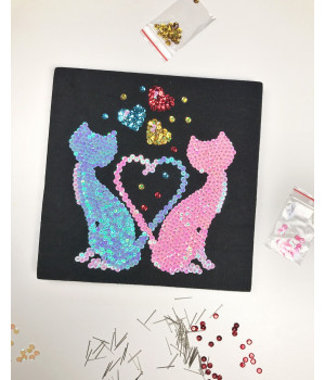 Набор для творчества из пайеток 'Коты Ля Мур' 25*25*2 см в цветной коробке APT 01-06-Колібрі Art