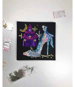 Набор для творчества из пайеток 'Золушка' 25*25*2 см в цветной коробке APT 01-07-Колібрі Art