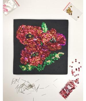 Набор для творчества из пайеток 'Маковая полянка' 25*25*2 см в цветной коробке APT 01-08-Колібрі Art