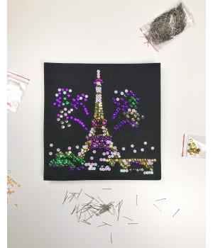 Набор для творчества из пайеток 'Огни Парижа' 25*25*2 см в цветной коробке APT 01-10-Колібрі Art