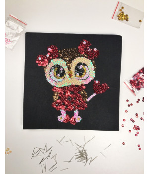 Набір для творчості з паєток 'Тендітна совушка' 25 * 25 * 2 см в кольоровій коробці APT 01-01-Колібрі Art